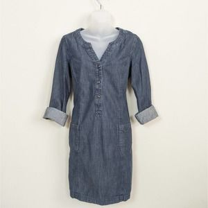 BODEN Dark Blue Denim Shirt Dress Long Sleeve 8
